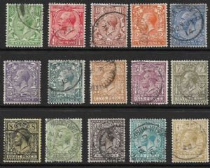 1912 George V Royal Cypher Stamp Set of 15 Used SG351-396